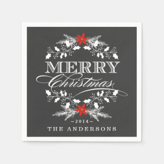 Chalkboard Christmas Holly Wreath Paper Napkins