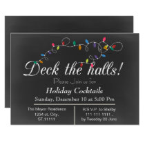 Chalkboard Christmas Lights Holiday party Invites