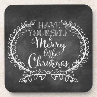 Chalkboard Christmas Merry Wreath Holiday Coaster