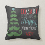 Chalkboard Christmas Mustache Novelty Pillow