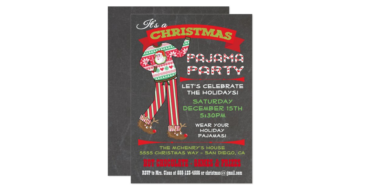 Chalkboard Christmas Pajama Party Invitations R A B E A B B A C D Gduf on Zazzle Christmas Cards