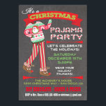"Chalkboard Christmas Pajama Party Invitations<br><div class=""desc"">Chalkboard Christmas Pajama Party Invitations Super cute for the Holidays, this Christmas party is for adults or kids that have a pajama theme. Features Santa pj"