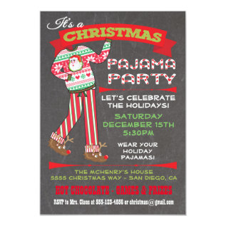 Chalkboard Christmas Pajama Party Invitations at Zazzle