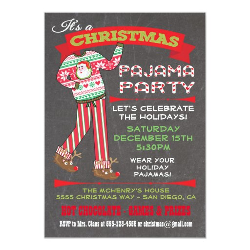 Christmas Party Invites: Chalkboard Christmas Pajama Party Invitations