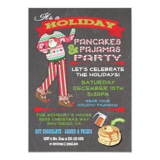 Chalkboard Christmas Pancakes & Pajamas Party Card at Zazzle
