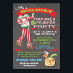 """Chalkboard Christmas Pancakes & Pajamas Party Invitation<br><div class=""""desc"""">Chalkboard Christmas Pancakes & Pajamas Party Invitations Super cute for the Holidays, this Christmas party is for adults or kids that have a pajama theme. Features Santa pj's and reindeer slippers, fun fonts and banners all on a chalkboard background. Great for a brunch, birthday party or even an evening breakfast!...</div>"""