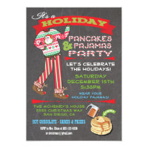 Chalkboard Christmas Pancakes & Pajamas Party Invitation