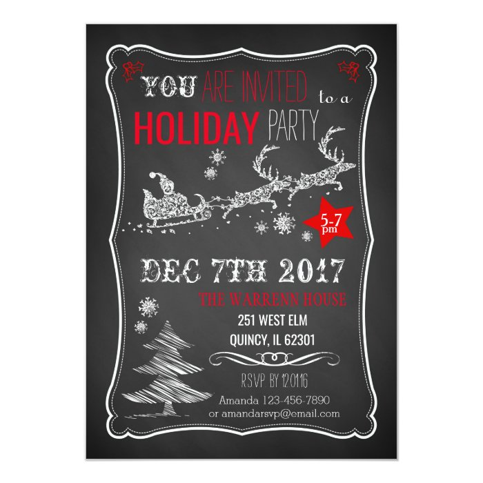 chalkboard christmas party invitation zazzle