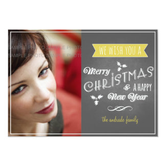 Chalkboard Christmas Photo Banner Yellow Gray 5x7 Card