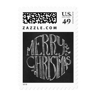 Chalkboard Christmas Typographic Postage