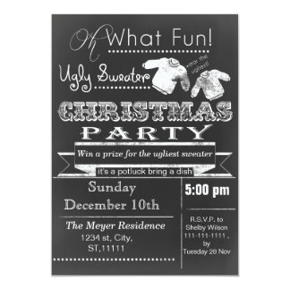 Chalkboard Christmas Ugly sweater Party Invites
