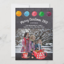 Chalkboard Christmas Vintage Photo Elf Watercolor Holiday Card