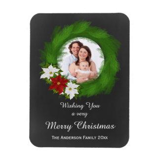 Chalkboard Christmas Wreath Holiday Photo Magnets