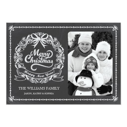 Chalkboard Christmas Wreath Photo Card Custom Invites