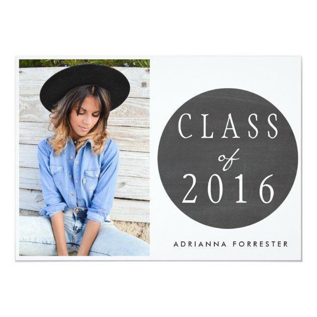 Chalkboard Class Of 2016 Graduation Party Photo 5x7 Paper Invitation Card