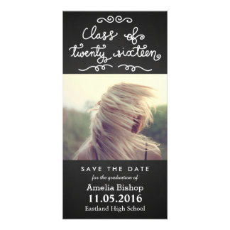 Chalkboard Class Of 2016 Typography Save The Date Card