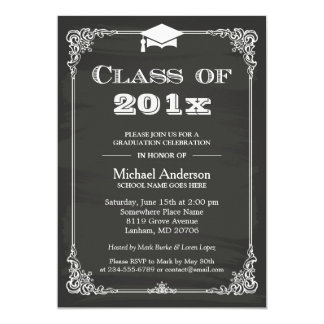 Chalkboard Class of 2017 Grad Cap Graduation Card