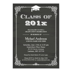 Formal 5x7 graduation invitations zazzle chalkboard class of 2018 grad cap graduation invitation stopboris Images