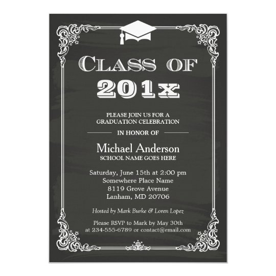 Chalkboard class of 2018 grad cap graduation invitation zazzle chalkboard class of 2018 grad cap graduation invitation filmwisefo