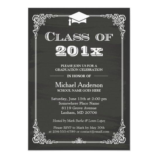 chalkboard class of 2018 grad cap graduation invitation zazzle com