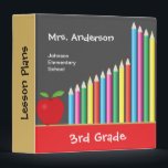 """Chalkboard &amp; Colored Pencils Personalized Teacher 3 Ring Binder<br><div class=""""desc"""">This teacher&#39;s binder features a bold and colorful graphic of a chalkboard accented with bright colored pencils and a traditional red apple. Custom text allows you to add teachers name,  school and grade level. It&#39;s a perfect item for any elementary teacher.</div>"""