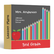 Chalkboard & Colored Pencils Personalized Teacher 3 Ring Binder