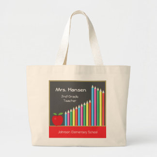 Chalkboard & Colored Pencils Teacher Large Tote Bag