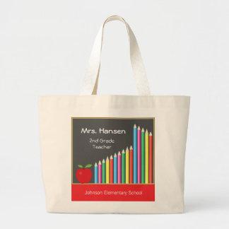 Chalkboard & Colored Pencils Teacher Large Tote Bag