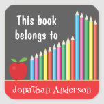 Chalkboard & Colored Pencils, This book belongs to Square Sticker