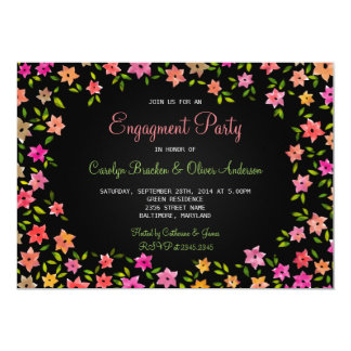 Chalkboard Colorful Flower Wreath Engagement Party Card