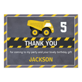 Chalkboard Construction Truck Thank You Card