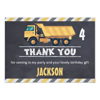 Chalkboard Construction Truck Thank You Flat Card