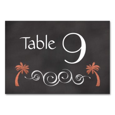 Beach Themed Chalkboard Coral Beach Wedding Table Number