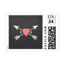 Chalkboard Coral Heart   Arrow Wedding Postage
