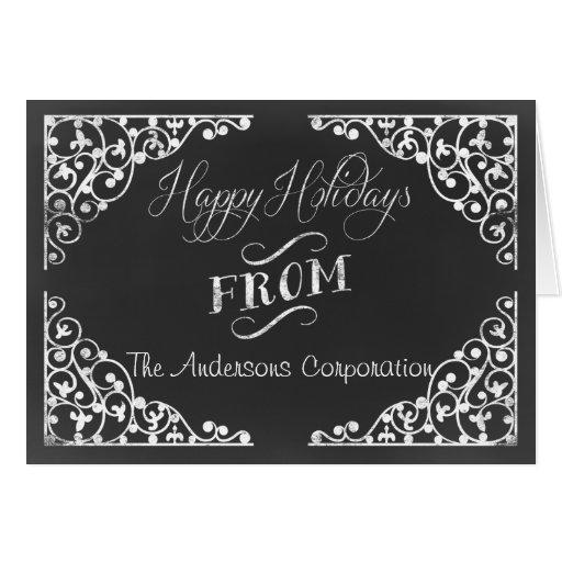 Chalkboard corporate christmas cards zazzle for Chalkboard christmas cards