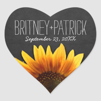 Chalkboard Country Rustic Sunflower Wedding Favors Heart Sticker