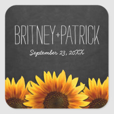 Chalkboard Country Rustic Sunflower Wedding Favors Square Sticker