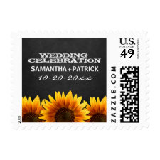 Chalkboard Country Rustic Sunflower Wedding Stamps