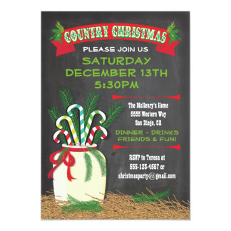 """Chalkboard Country western Christmas Party Invite 5"""" X 7"""" Invitation Card"""