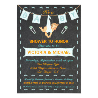 Chalkboard Couples Diaper Baby Shower Clothesline 4.5x6.25 Paper Invitation Card