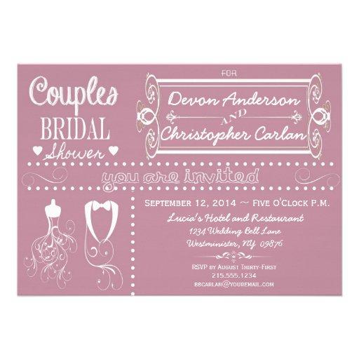 Chalkboard Couples Purple Bridal Shower Invitation