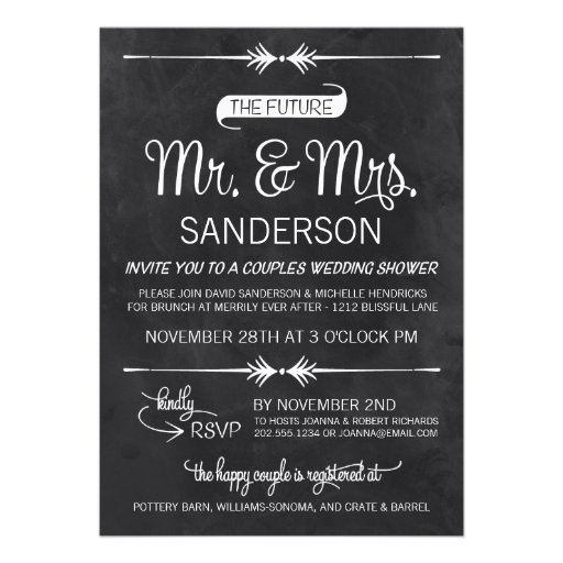 Chalkboard couples wedding shower 5x7 paper invitation for Wedding couples shower invitations