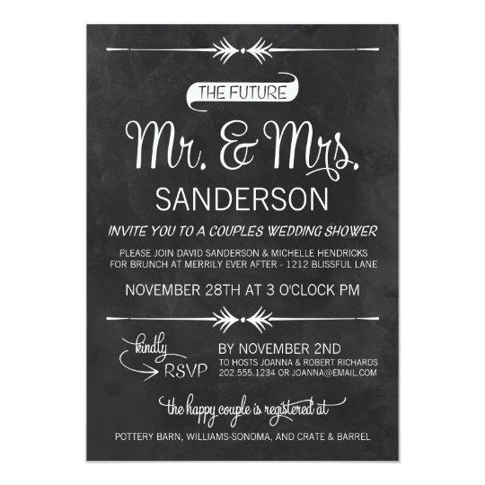 Chalkboard Couples Wedding Shower Invitation Zazzlecom