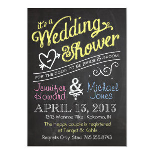 Couples wedding shower invitations announcements zazzle chalkboard couples wedding shower invitation filmwisefo