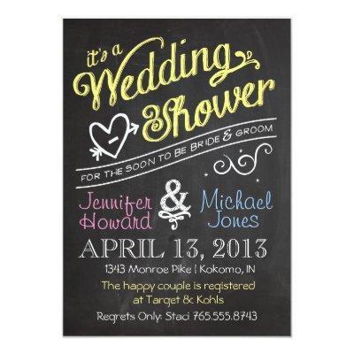 Captivating Chalkboard Couples Wedding Shower Invitations | Zazzle.com