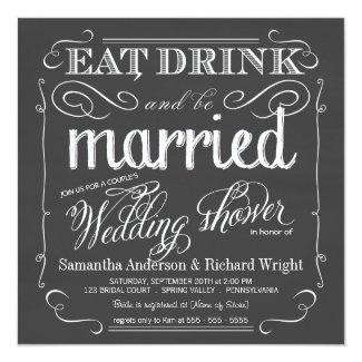 "Chalkboard Couples Wedding Shower Invitations 5.25"" Square Invitation Card"