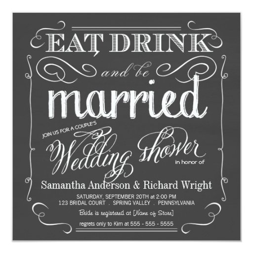 1000 Images About Eat Drink And Be Married On Pinterest: Chalkboard Couples Wedding Shower Invitations