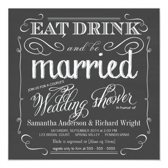 Chalkboard Couples Wedding Shower Invitations Zazzle