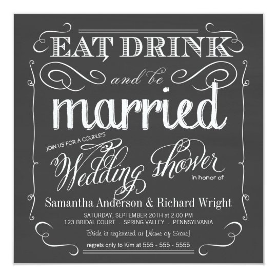 Chalkboard Couples Wedding Shower Invitations  Zazzle