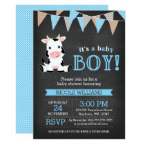 Chalkboard Cow Boy Baby Shower Invitation